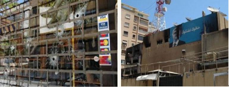 繁華街のハムラ通りの商店のショーウインドウに残った銃弾の跡(左)/親シリア派民兵の焼き打ちにあったハリリ氏が所有するムスタクバル・テレビ。壁の肖像は元ハリリ首相